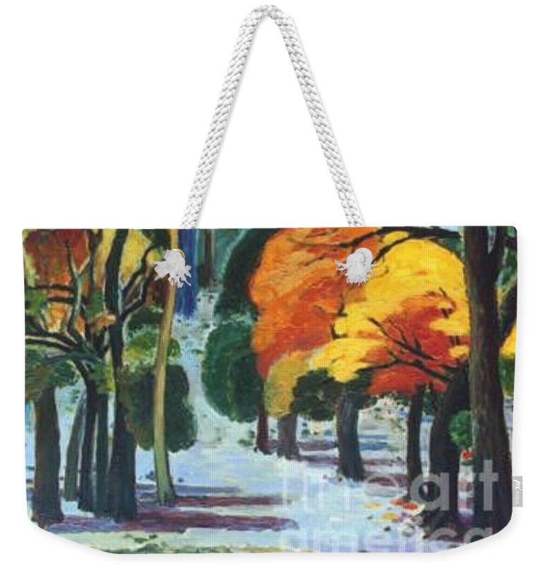 Colors Weekender Tote Bag featuring the painting Colors Of Fall by Meihua Lu