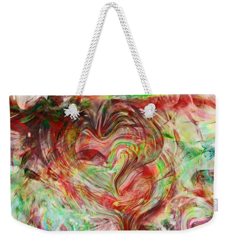 Abstract Art Weekender Tote Bag featuring the digital art Colors Of Love by Linda Sannuti