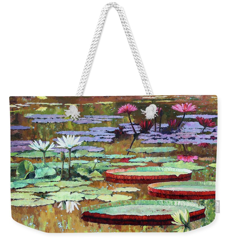Garden Pond Weekender Tote Bag featuring the painting Colors on the Lily Pond by John Lautermilch