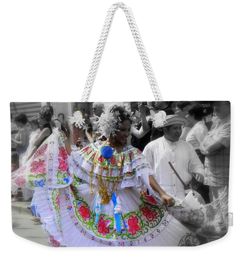 Colour Weekender Tote Bag featuring the painting Colour In Motion..... by Jo Hoden