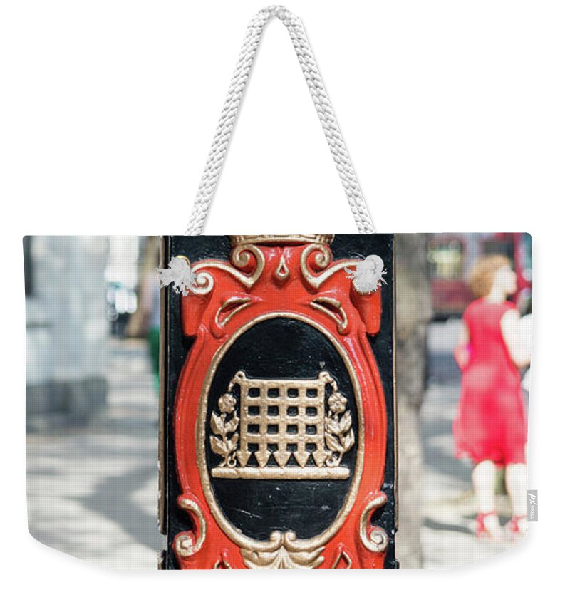 16x9 Weekender Tote Bag featuring the photograph Colourful Lamp Post With The City Of Westminster Coat Of Arms London by Jacek Wojnarowski