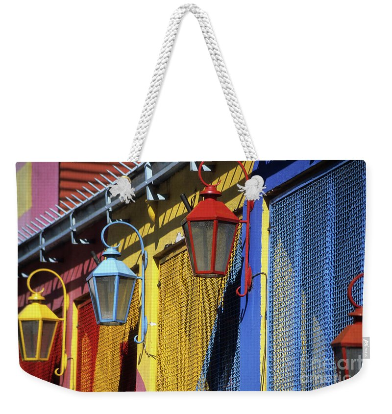 Buenos Aires Weekender Tote Bag featuring the photograph Colourful Lamps La Boca Buenos Aires by James Brunker