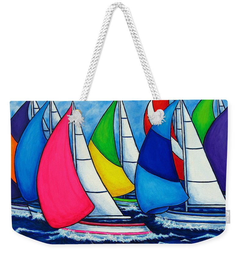 Boats Weekender Tote Bag featuring the painting Colourful Regatta by Lisa Lorenz