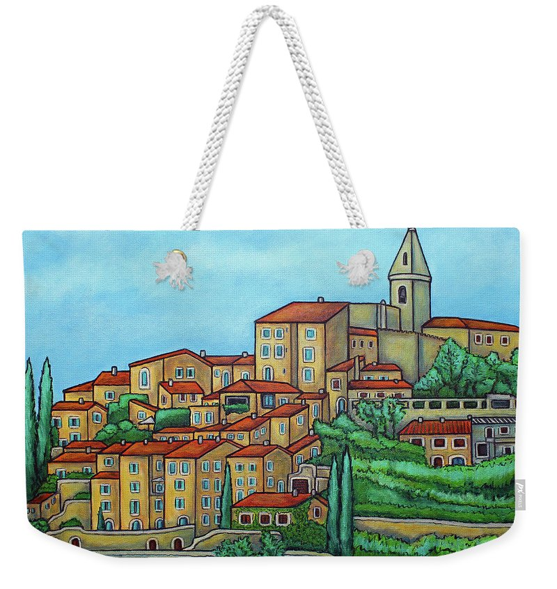 Provence Weekender Tote Bag featuring the painting Colours of Crillon-le-Brave, Provence by Lisa Lorenz