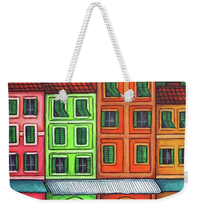 Italy Weekender Tote Bag featuring the painting Colours Of Liguria by Lisa Lorenz