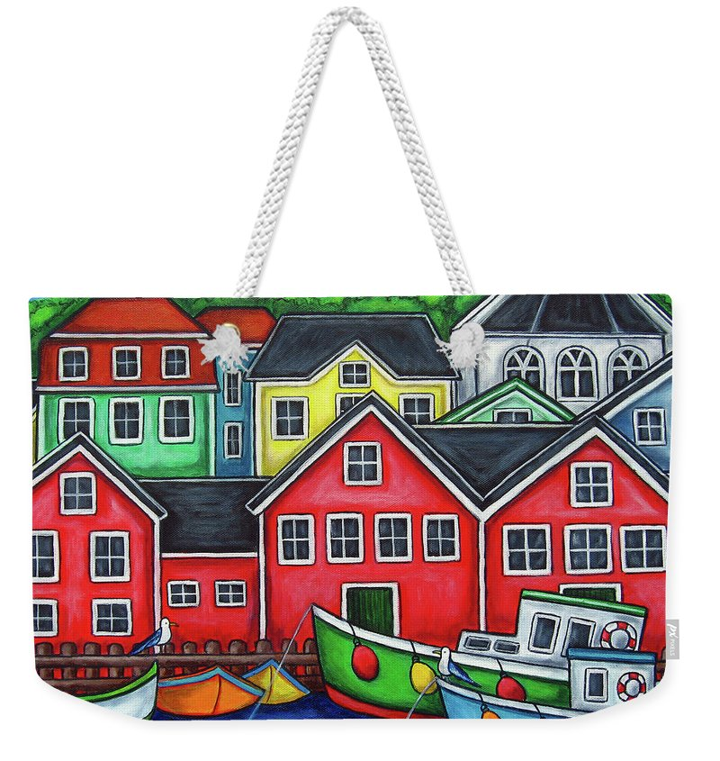 Nova Scotia Weekender Tote Bag featuring the painting Colours of Lunenburg by Lisa Lorenz