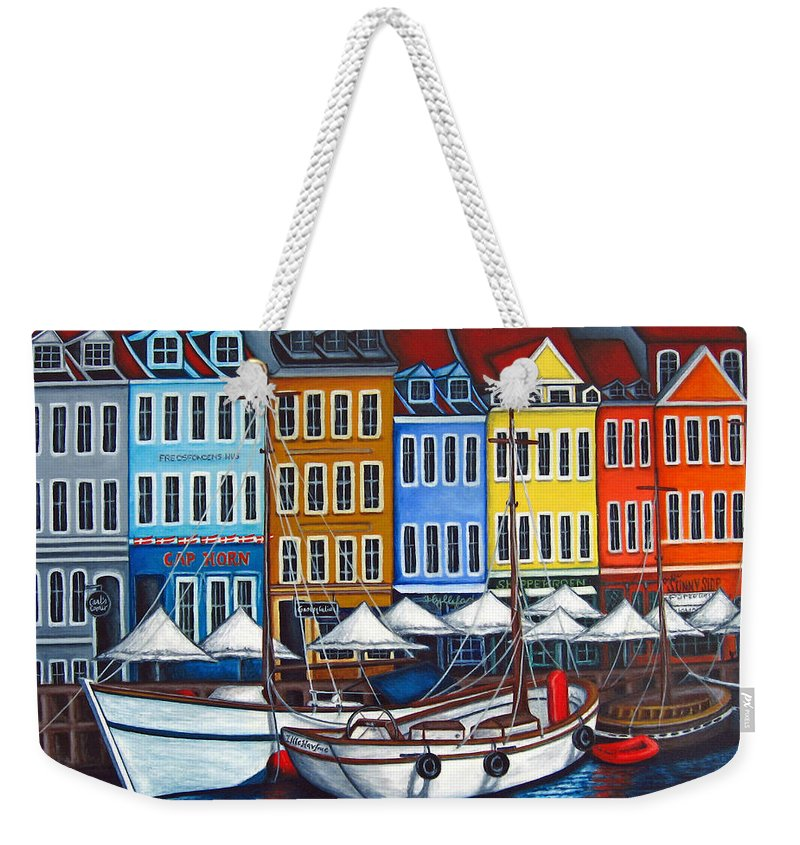 Nyhavn Weekender Tote Bag featuring the painting Colours Of Nyhavn by Lisa Lorenz