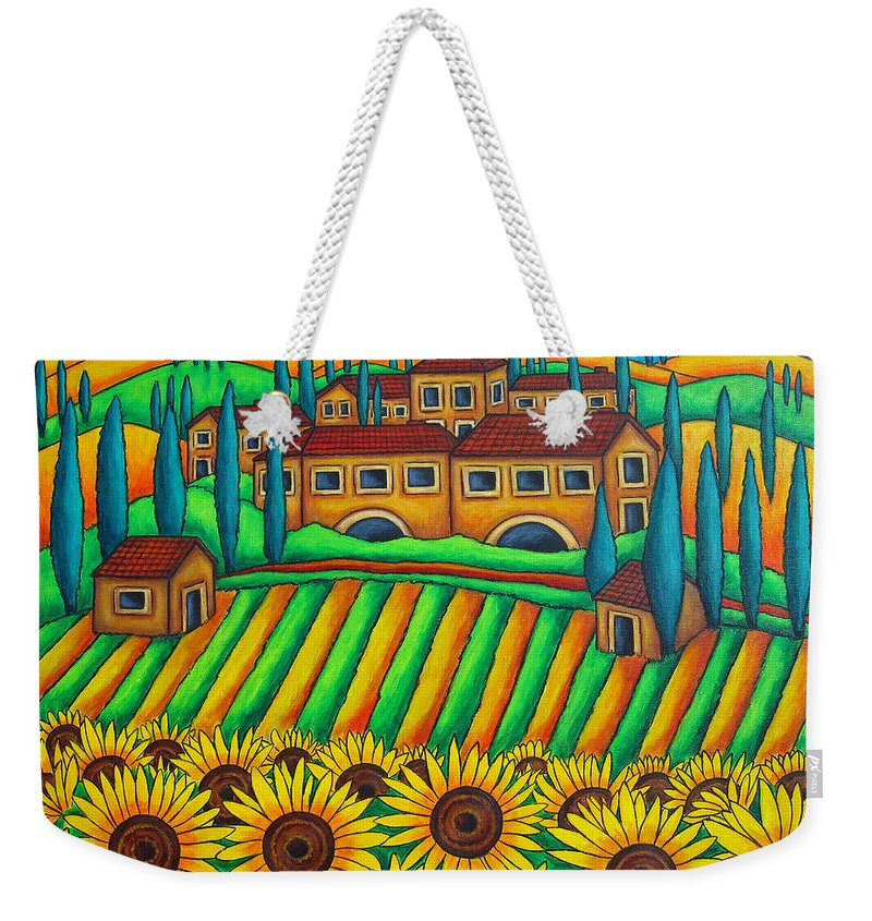 Tuscany Weekender Tote Bag featuring the painting Colours Of Tuscany by Lisa Lorenz