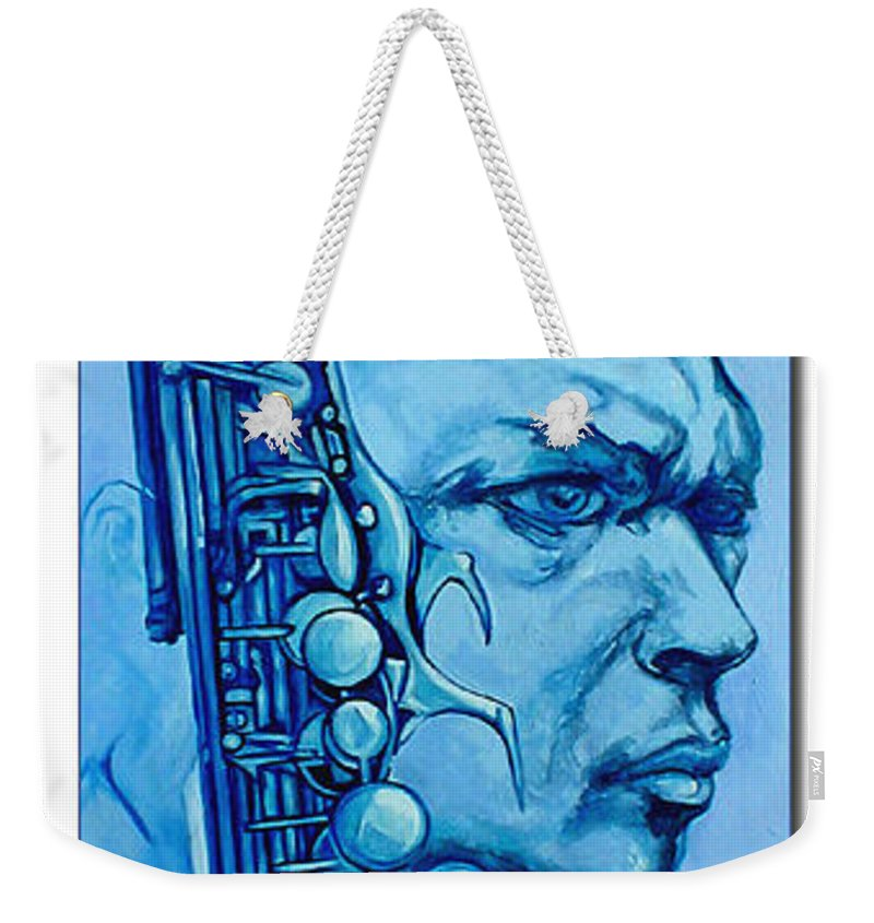 Original Fine Art By Lloyd Deberry Weekender Tote Bag featuring the painting Coltrane by Lloyd DeBerry