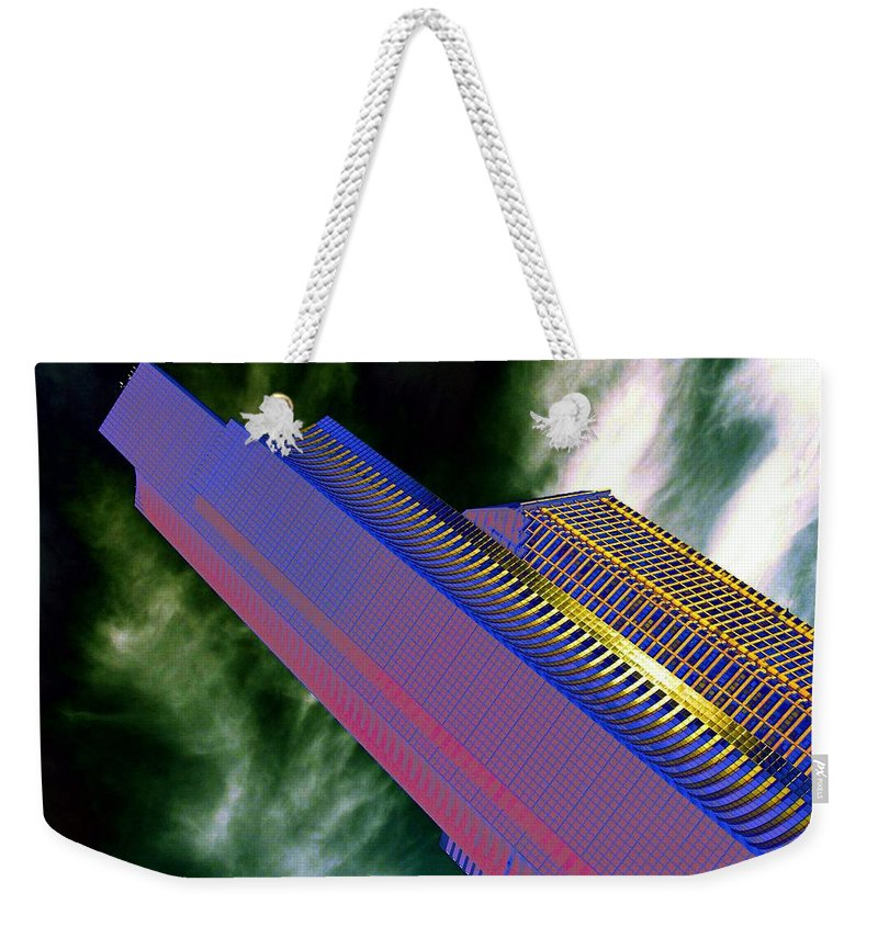 Seattle Weekender Tote Bag featuring the digital art Columbia And Municipal Towers Seattle Wa by Tim Allen