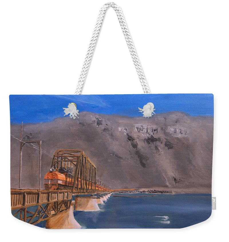 Train Weekender Tote Bag featuring the painting Columbia Crossing by Christopher Jenkins