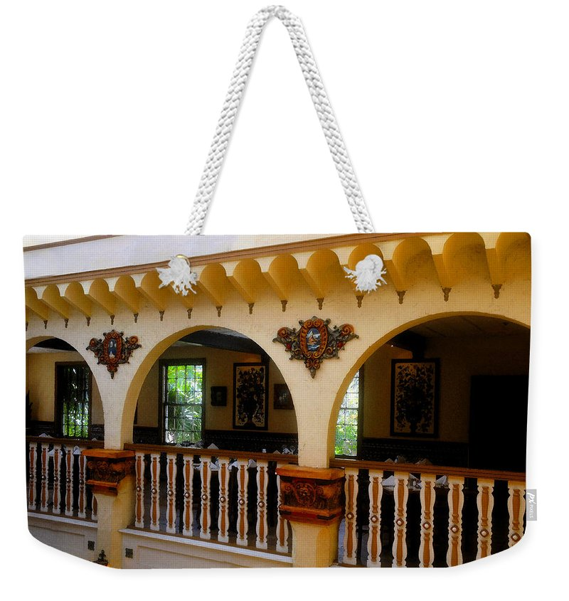 Columbia Restaurant Weekender Tote Bag featuring the painting Columbia Restaurant Work Number Three by David Lee Thompson