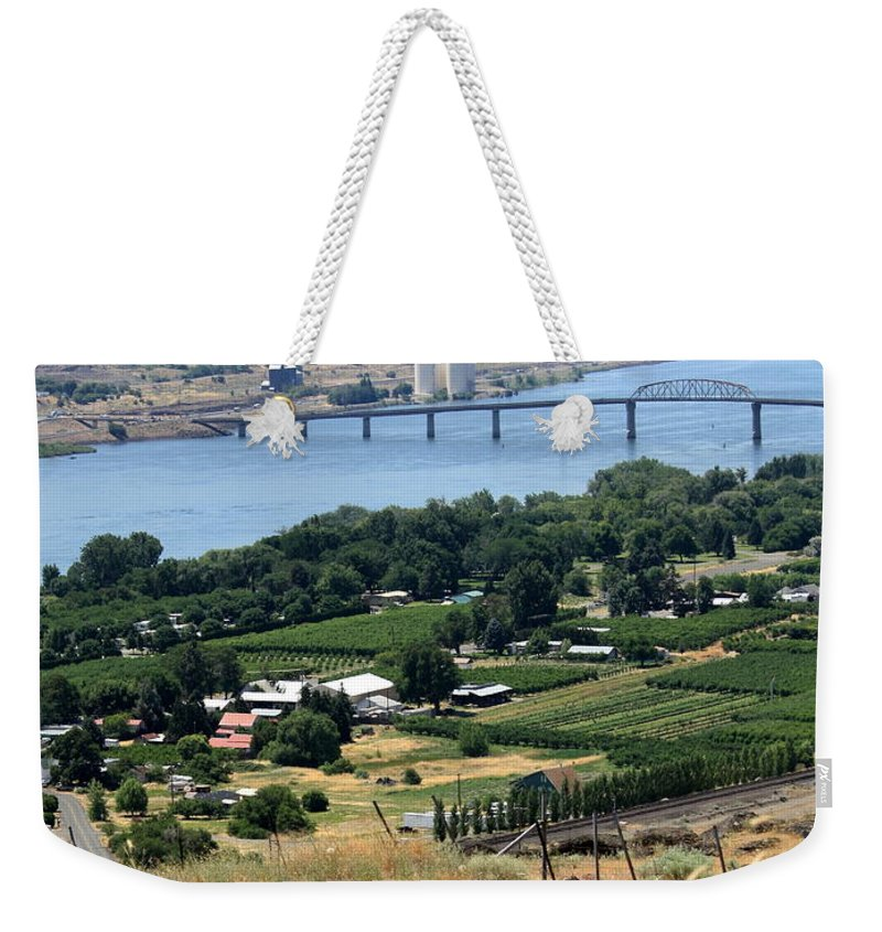 Washington State Weekender Tote Bag featuring the photograph Columbia River And Biggs Bridge by Carol Groenen