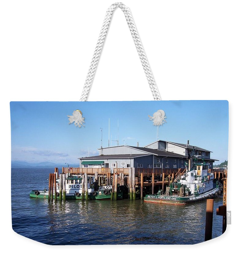 Oregon Weekender Tote Bag featuring the photograph Columbia River Port by Adrienne Wilson