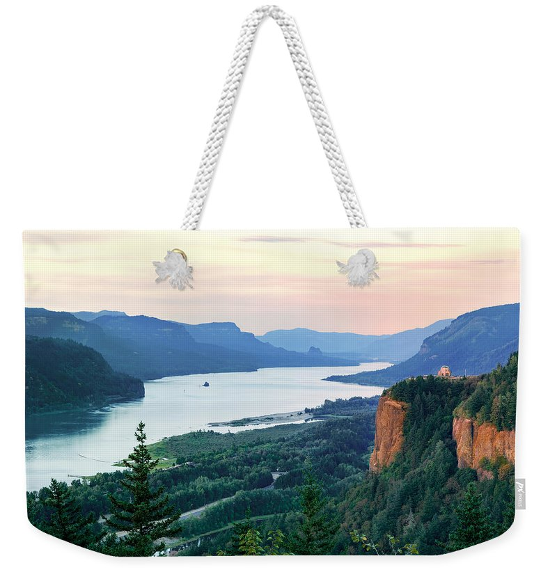 Sunset Weekender Tote Bag featuring the photograph Columbia River With Vista House by Mary Jo Allen