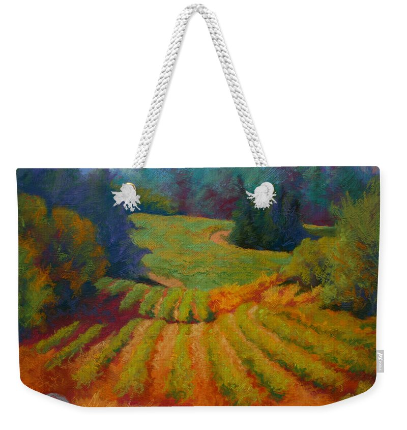 Pastel Weekender Tote Bag featuring the painting Columbia Valley Vineyard by Marion Rose