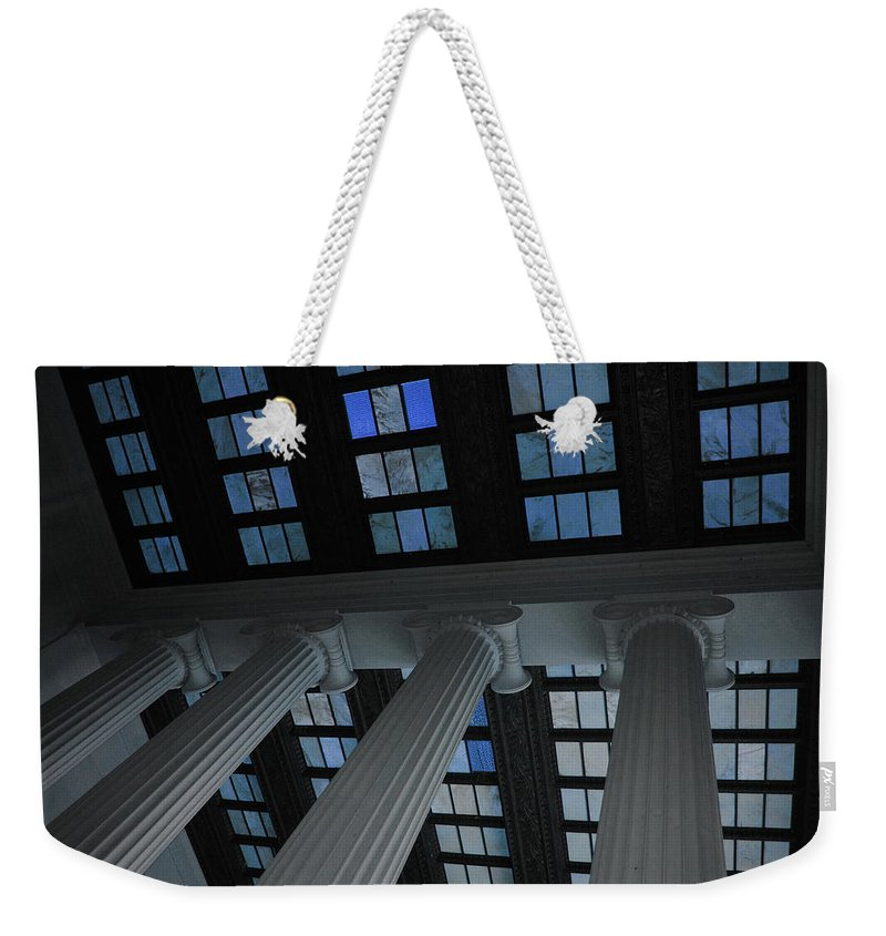 Lincoln Weekender Tote Bag featuring the photograph Column Stain Blue by Jost Houk