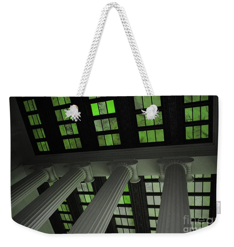 Lincoln Weekender Tote Bag featuring the photograph Column Stain Green by Jost Houk