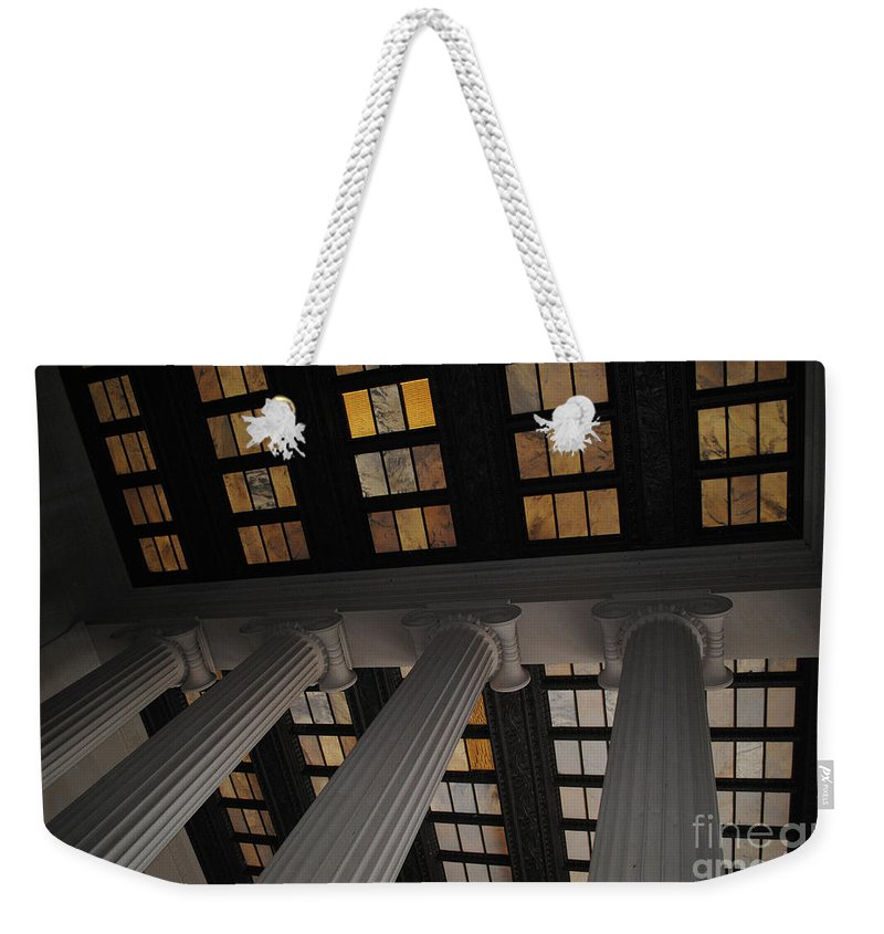 Lincoln Weekender Tote Bag featuring the photograph Column Stain Yellow by Jost Houk