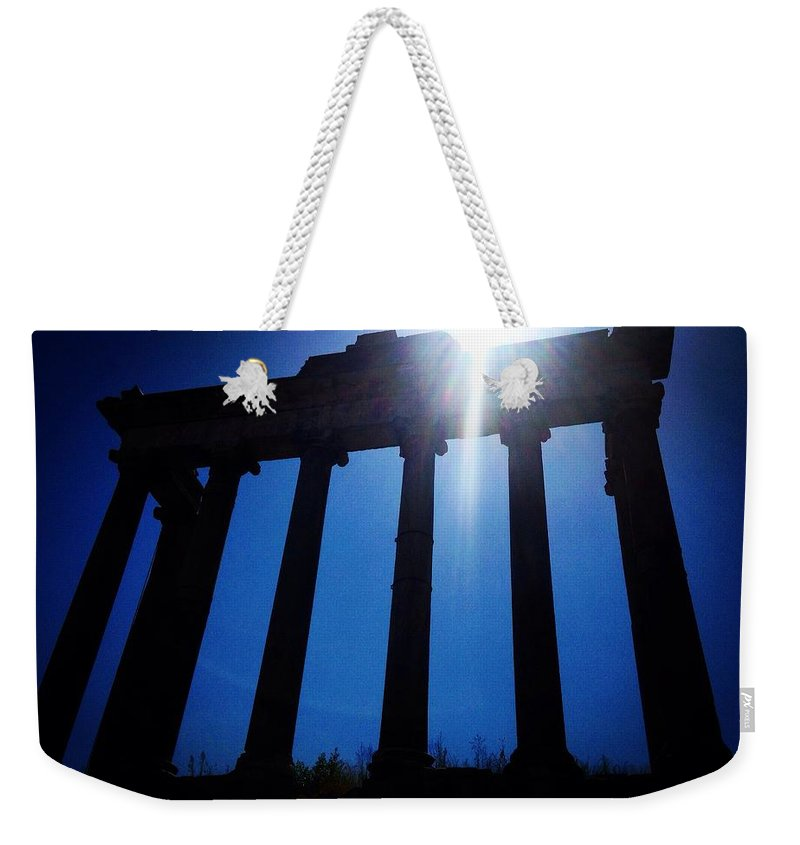 Rome Weekender Tote Bag featuring the photograph Columns by Angela Rath
