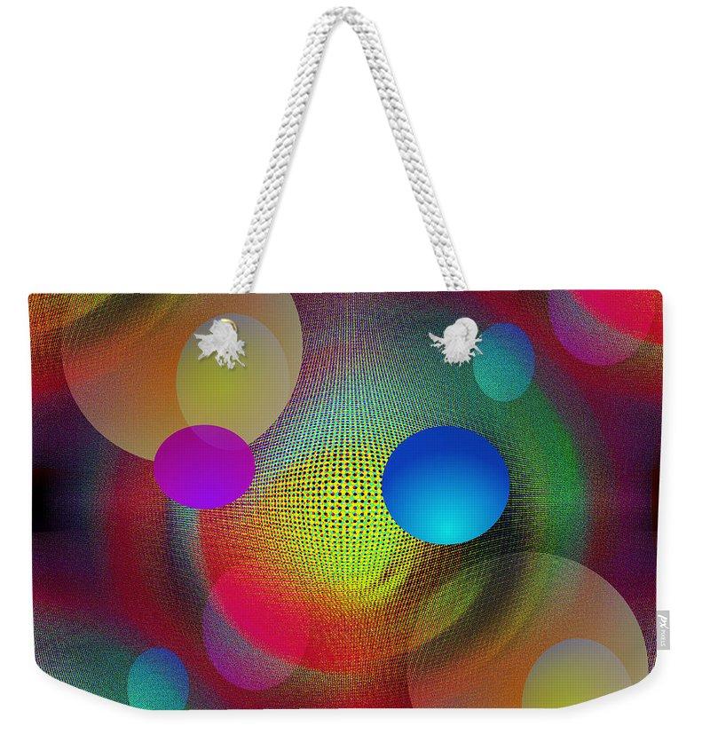 Abstract Weekender Tote Bag featuring the digital art Combine by Iris Gelbart