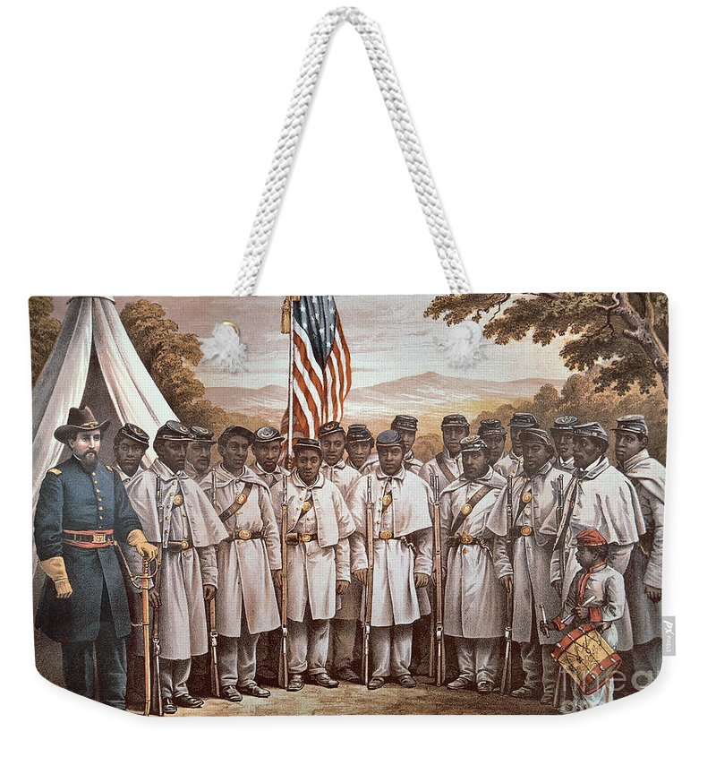 Recruitment; American Civil War; Volunteer; Soldiers; Soldier; Army; Uniform; Flag; Stars And Stripes; General; Drummer; Negro; African-american; Us; Usa; Recruiting; Advertisement; Advert; Propaganda; African American Weekender Tote Bag featuring the painting 'come And Join Us Brothers' by American School