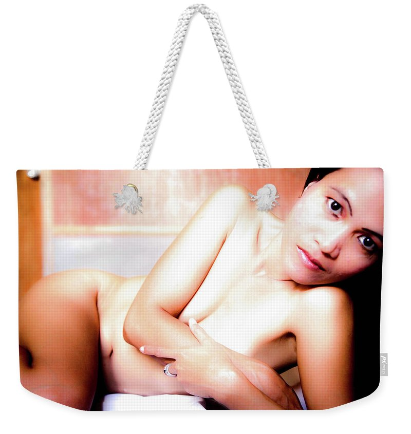 Nude Weekender Tote Bag featuring the photograph Come Be Quiet Here My Love by Jez C Self