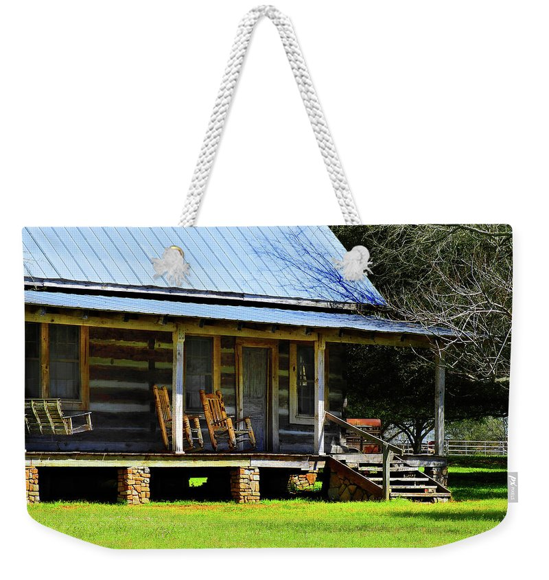 Southern Weekender Tote Bag featuring the photograph Come On Up - Sit A Spell by Laura Ragland