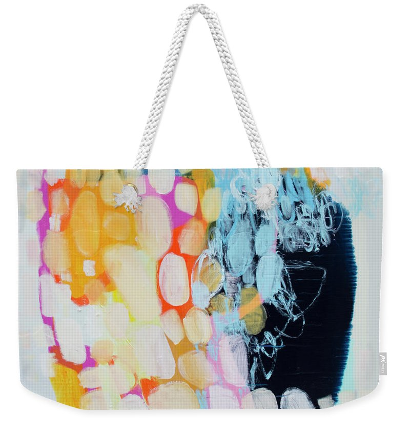 Abstract Weekender Tote Bag featuring the painting Come To Bed by Claire Desjardins