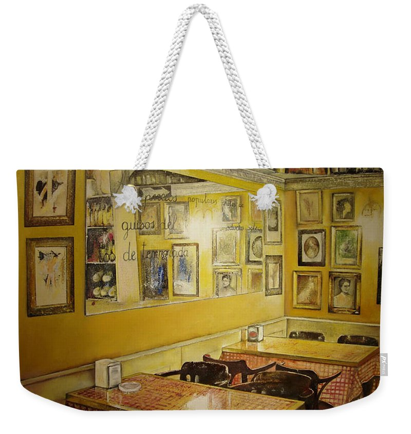 Interior Weekender Tote Bag featuring the painting Comedor Interior by Tomas Castano