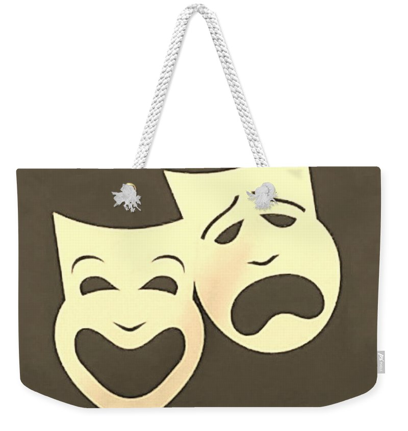 Comedy And Tragedy Weekender Tote Bag featuring the photograph Comedy N Tragedy Sepia by Rob Hans