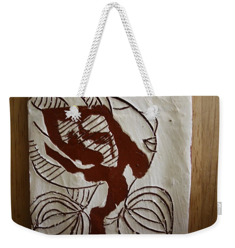 Jesus Weekender Tote Bag featuring the ceramic art Comfort - Tile by Gloria Ssali