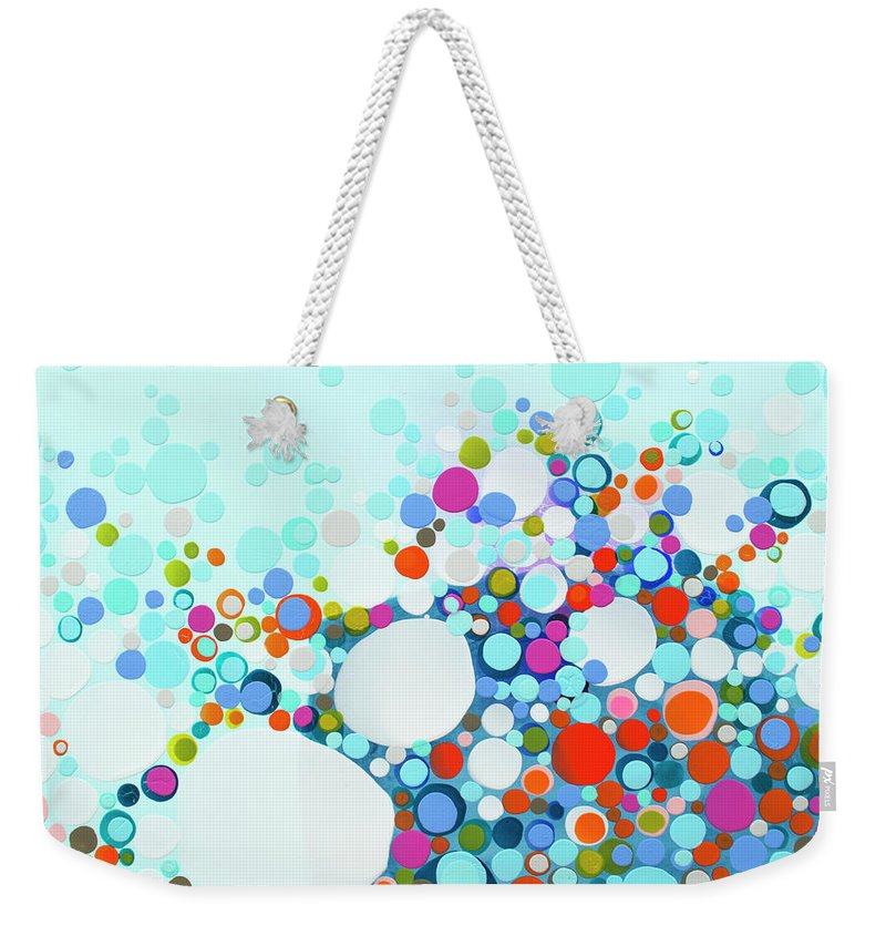 Abstract Weekender Tote Bag featuring the painting Comfortable In Chaos by Claire Desjardins