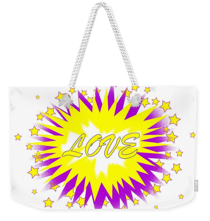 Love Weekender Tote Bag featuring the digital art Comic Love Balloon by Bigalbaloo Stock
