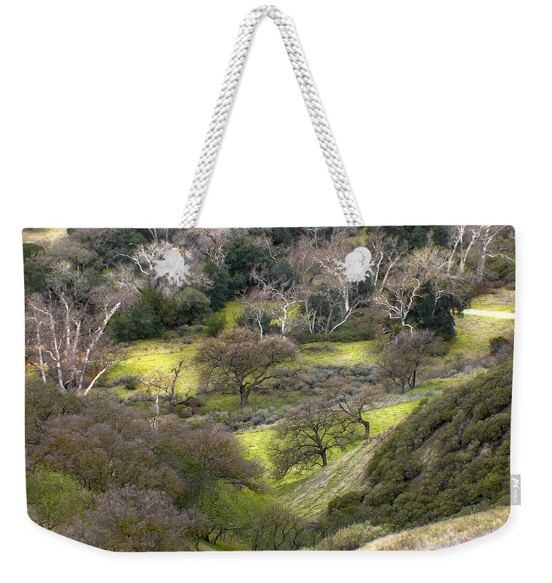 Landscapes Weekender Tote Bag featuring the photograph Coming Down The Hill by Karen W Meyer