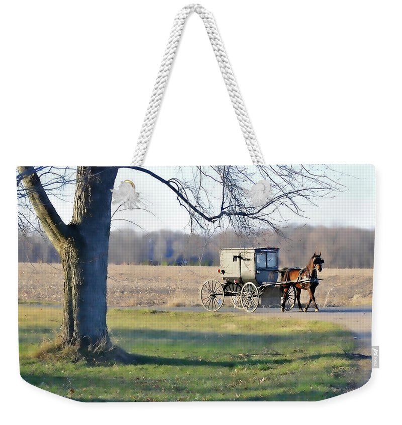 Amish Weekender Tote Bag featuring the photograph Coming Home by David Arment