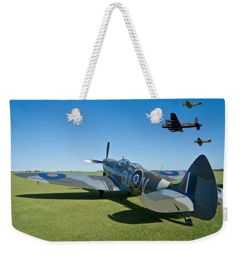 Lancaster.avro Lancaster Weekender Tote Bag featuring the photograph Coming Home by Scott Carruthers