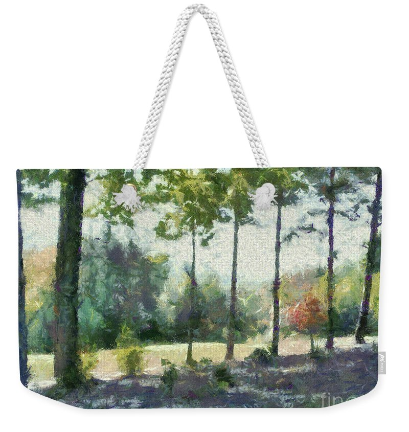 Homestead Weekender Tote Bag featuring the painting Coming Out Of The Woods by Paulette B Wright