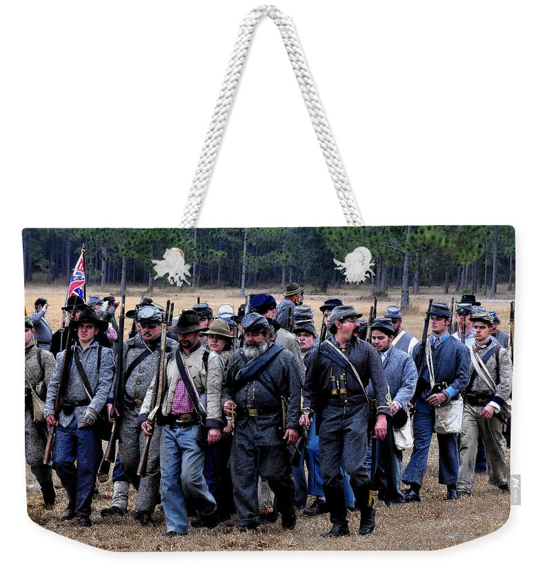Commander Weekender Tote Bag featuring the painting Commanding The Troops by David Lee Thompson