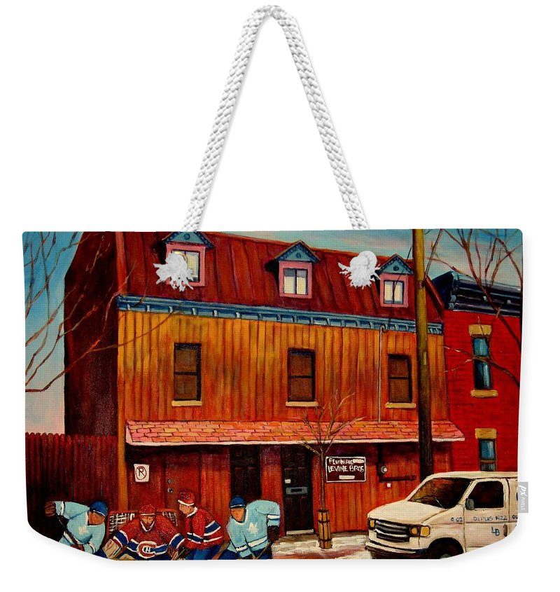 Levine Brothers Plumbers Weekender Tote Bag featuring the painting Commission Me Your Store by Carole Spandau
