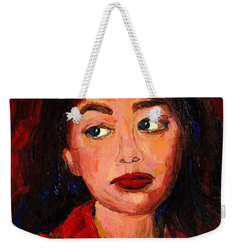 Commissioned Art Weekender Tote Bag featuring the painting Commission Montreal Portrait Artist Classically Trained by Carole Spandau