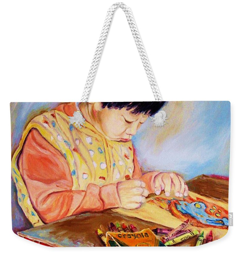 Beautiful Child Weekender Tote Bag featuring the painting Commission Portraits Your Child by Carole Spandau