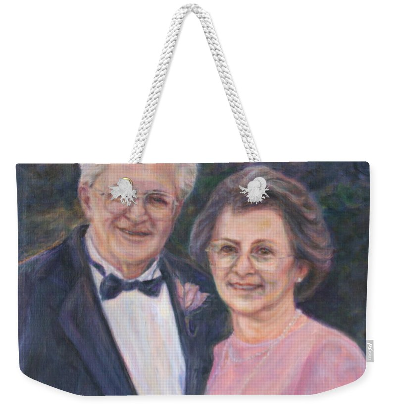 Portrait Weekender Tote Bag featuring the painting Commissioned Portrait Painting by Quin Sweetman