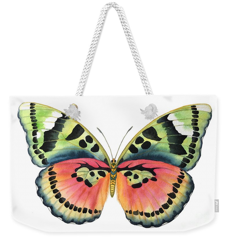 Butterflies Weekender Tote Bag featuring the painting Common Pink Forester by Lucy Arnold