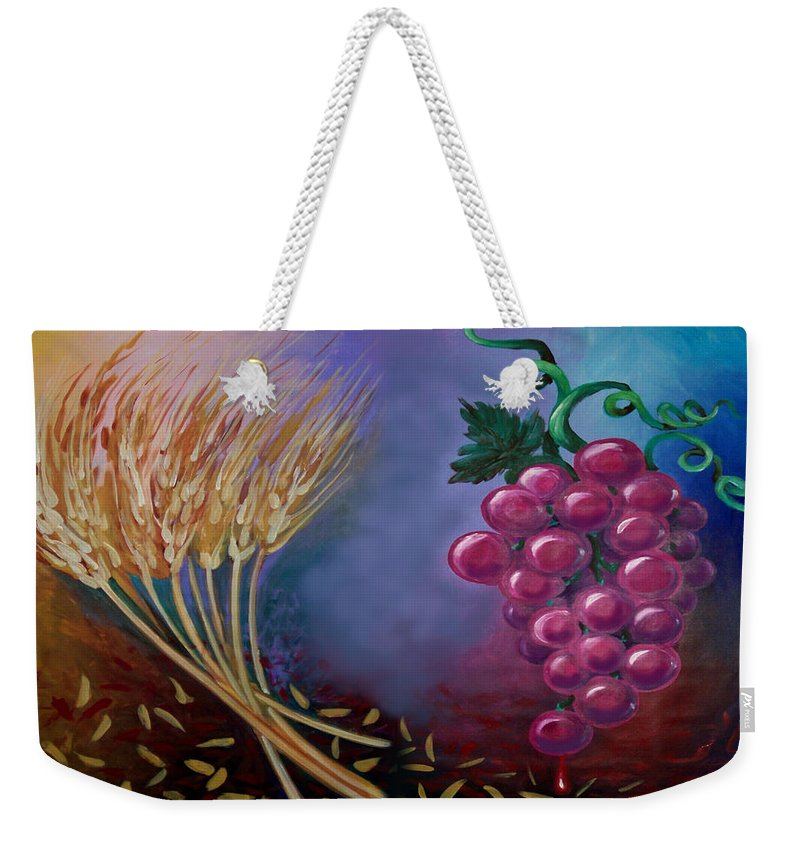 Communion Weekender Tote Bag featuring the painting Communion by Kevin Middleton