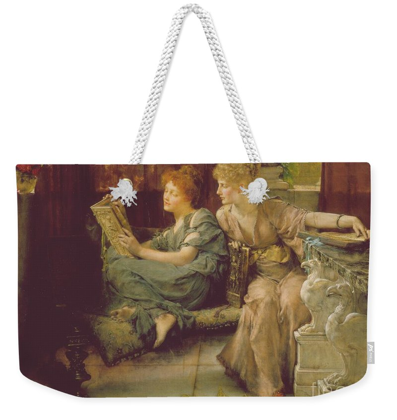 Female Weekender Tote Bag featuring the painting Comparison by Sir Lawrence Alma-Tadema