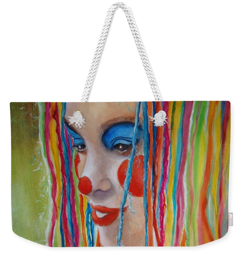 Clowns Weekender Tote Bag featuring the painting Complementary by Myra Evans