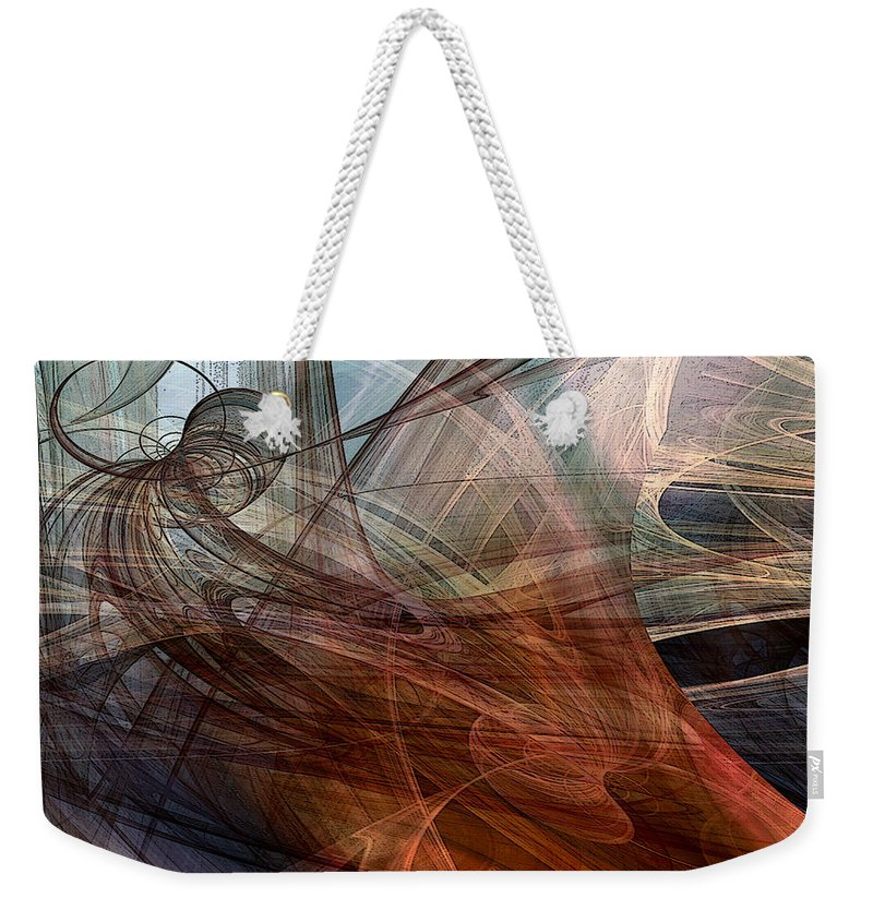 Abstract Weekender Tote Bag featuring the digital art Complex Decisions by Ruth Palmer