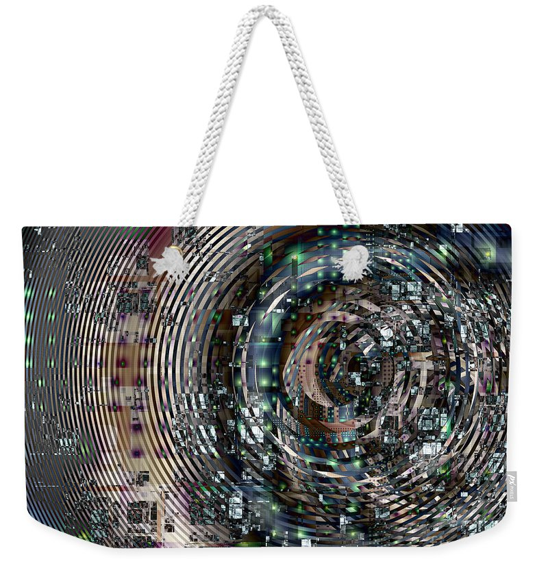 Fractal Weekender Tote Bag featuring the digital art Complexity City by Richard Ortolano