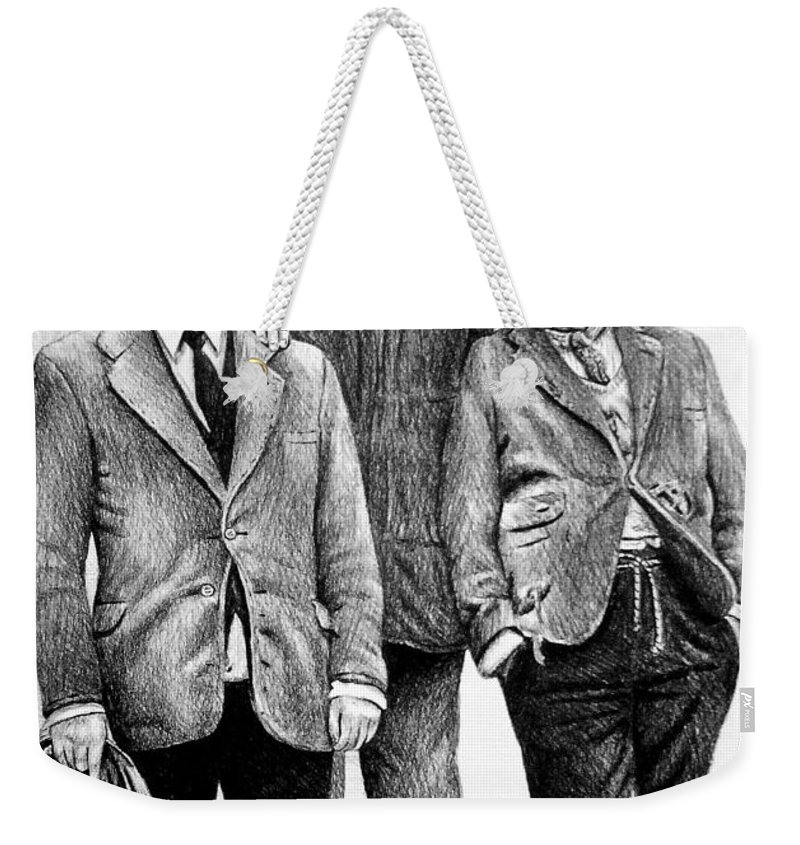Last Of The Summer Wine Weekender Tote Bag featuring the painting Compo Clegg And Foggy 2 by Andrew Read